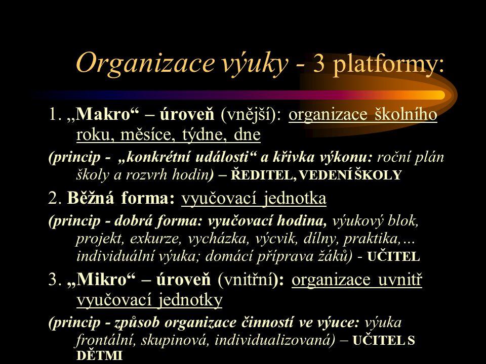 Organizace výuky - 3 platformy: