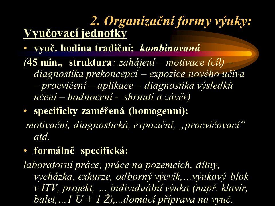 2. Organizační formy výuky: