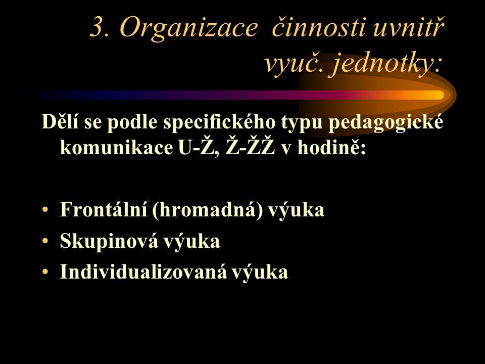 3. Organizace činnosti uvnitř vyuč. jednotky: