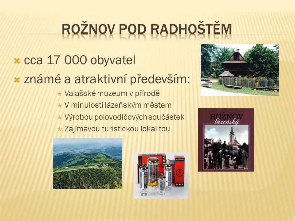 Rožnov pod Radhoštěm cca 17 000 obyvatel známé a atraktivní především: