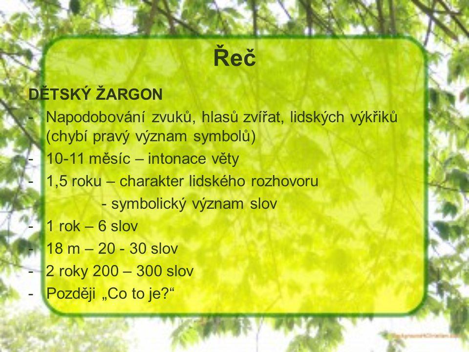 Řeč DĚTSKÝ ŽARGON. Napodobování zvuků, hlasů zvířat, lidských výkřiků (chybí pravý význam symbolů)