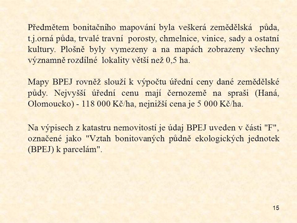 Předmětem bonitačního mapování byla veškerá zemědělská půda, t. j