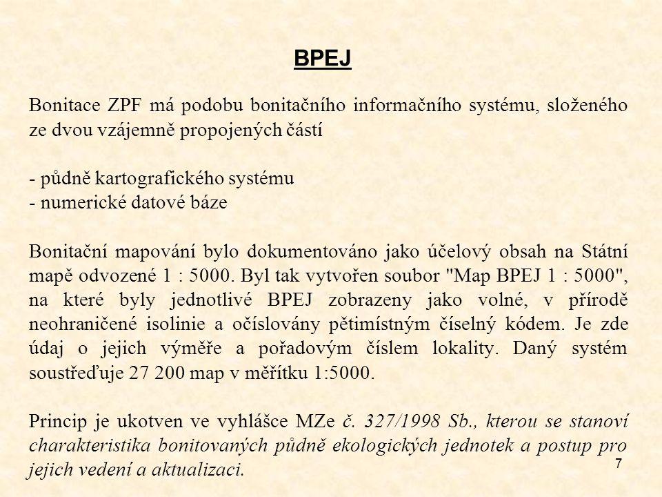 BPEJ Bonitace ZPF má podobu bonitačního informačního systému, složeného ze dvou vzájemně propojených částí.