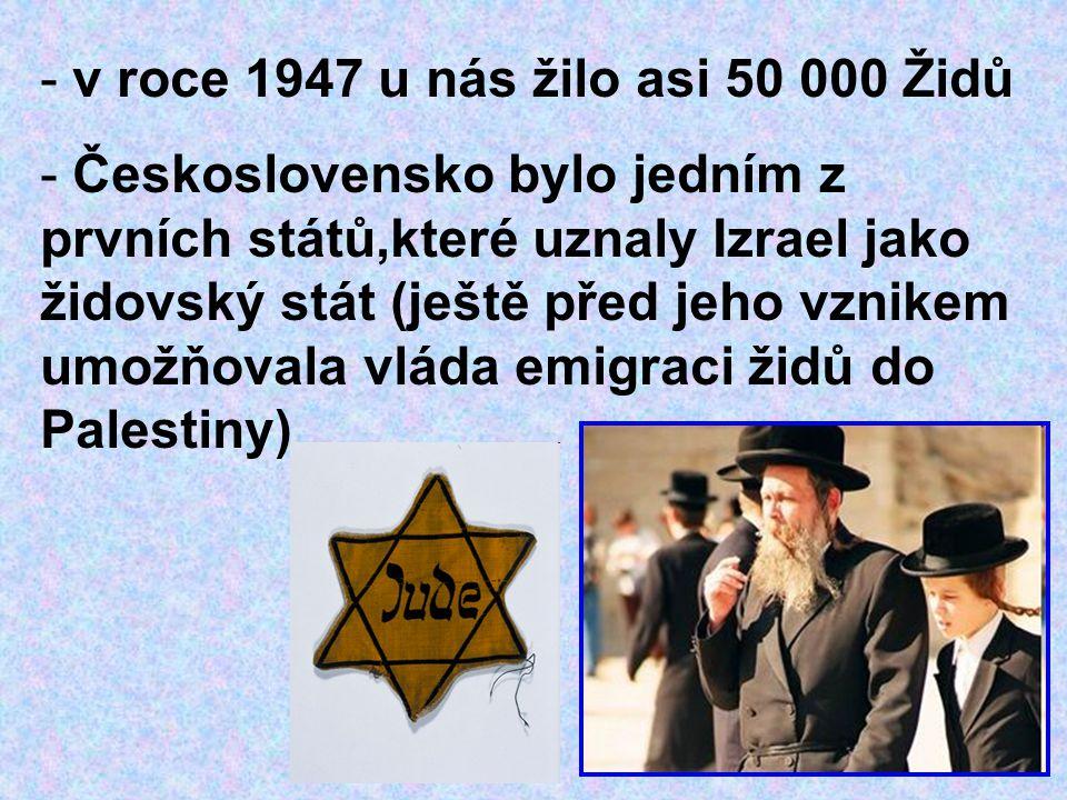 v roce 1947 u nás žilo asi 50 000 Židů