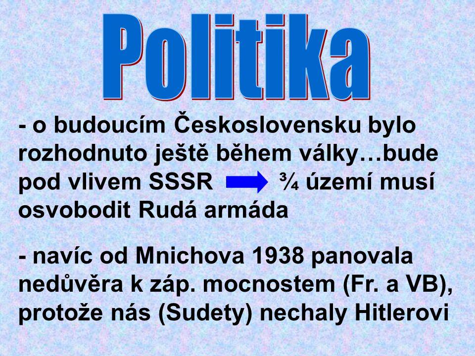 Politika - o budoucím Československu bylo rozhodnuto ještě během války…bude pod vlivem SSSR ¾ území musí osvobodit Rudá armáda.