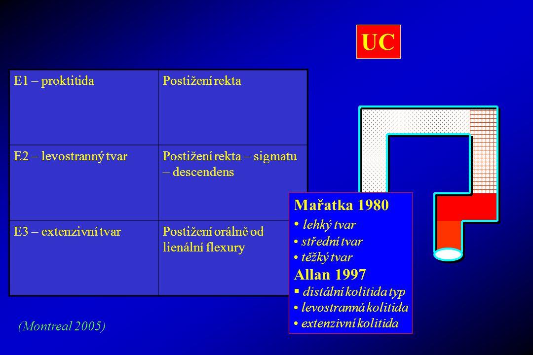 UC Mařatka 1980 lehký tvar Allan 1997 E1 – proktitida Postižení rekta