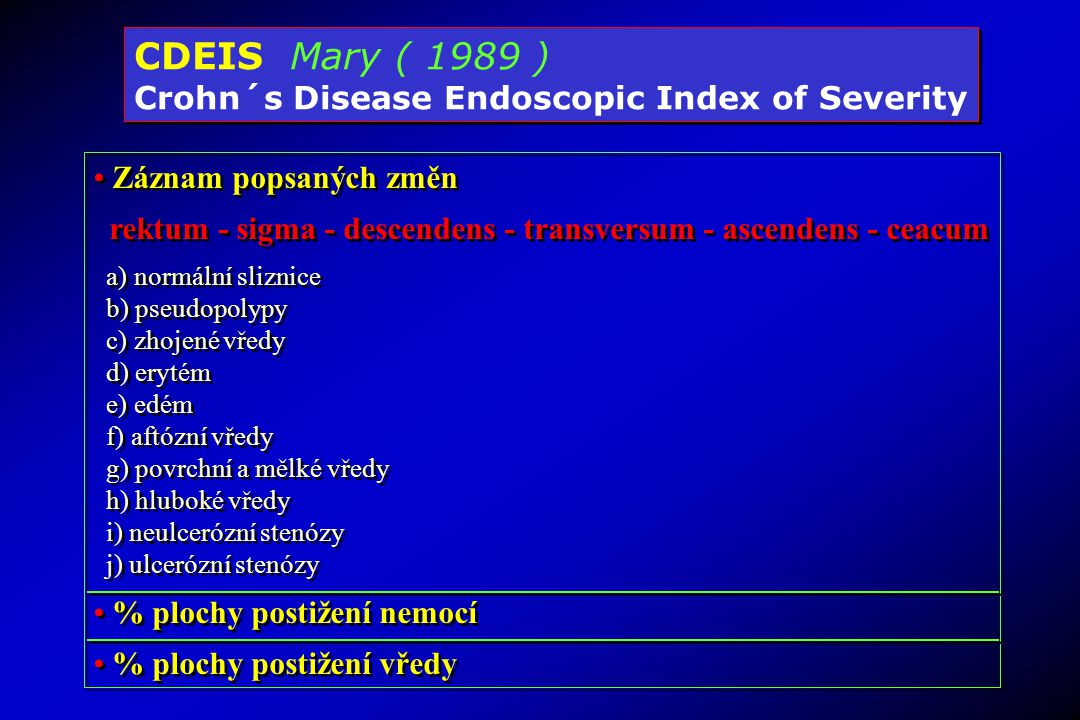 CDEIS Mary ( 1989 ) Crohn´s Disease Endoscopic Index of Severity