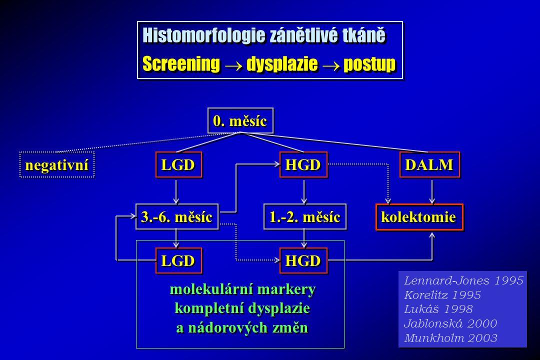 Histomorfologie zánětlivé tkáně Screening  dysplazie  postup
