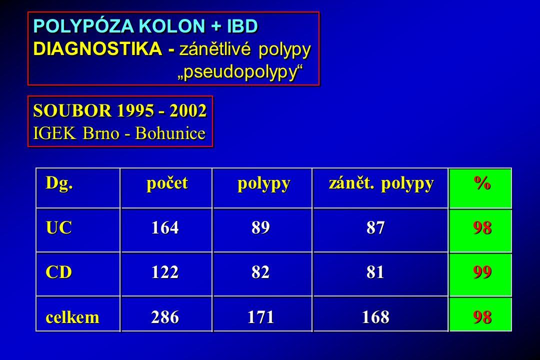 """POLYPÓZA KOLON + IBD DIAGNOSTIKA - zánětlivé polypy. """"pseudopolypy SOUBOR 1995 - 2002. IGEK Brno - Bohunice."""