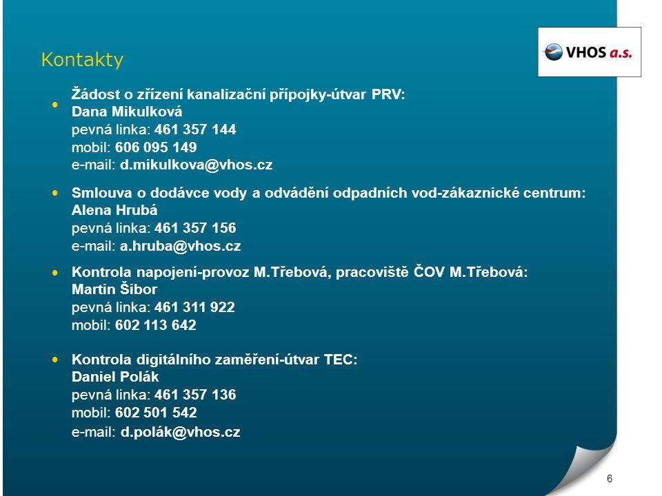 Kontakty Žádost o zřízení kanalizační přípojky-útvar PRV: