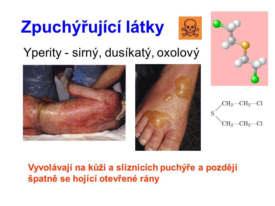 Zpuchýřující látky Yperity - sirný, dusíkatý, oxolový