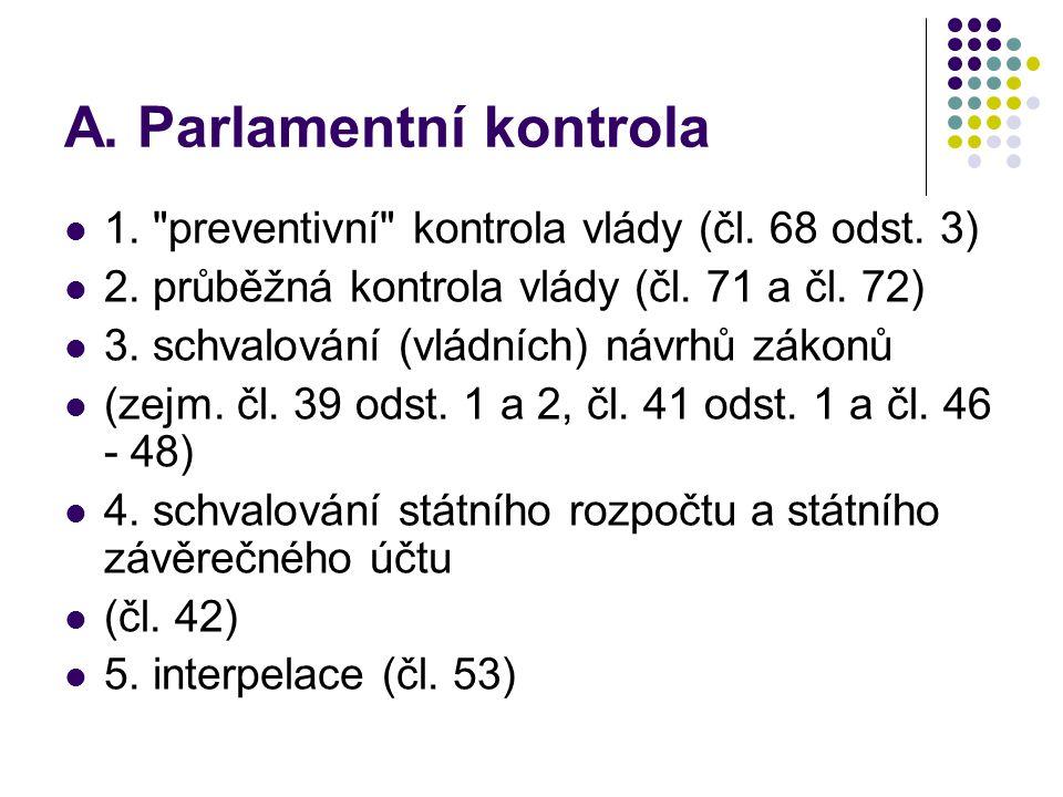 A. Parlamentní kontrola