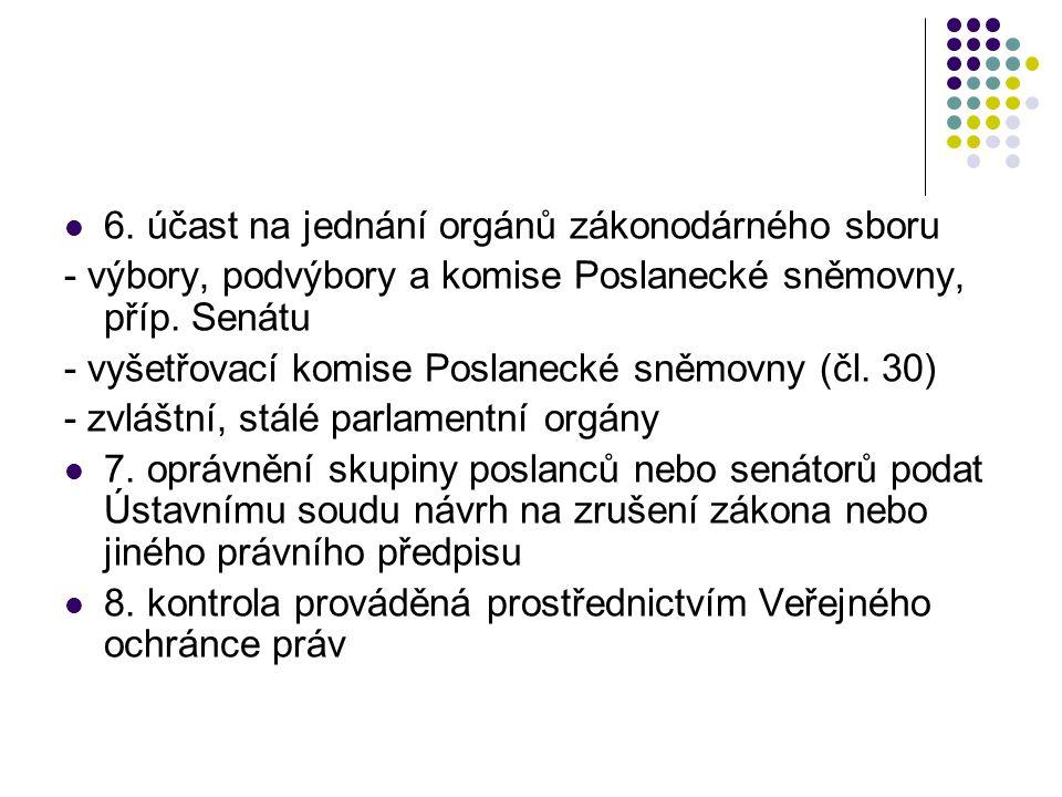 6. účast na jednání orgánů zákonodárného sboru