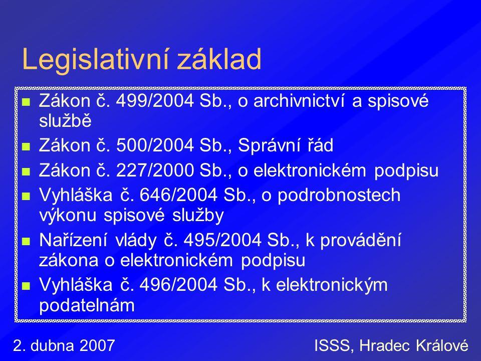 Legislativní základ Zákon č. 499/2004 Sb., o archivnictví a spisové službě. Zákon č. 500/2004 Sb., Správní řád.