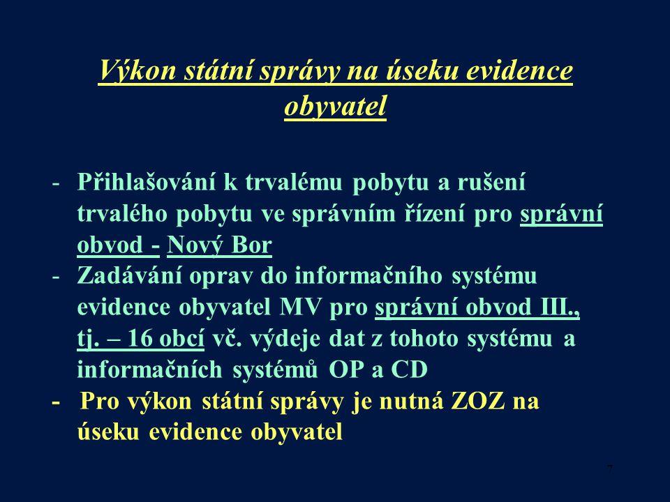 Výkon státní správy na úseku evidence obyvatel