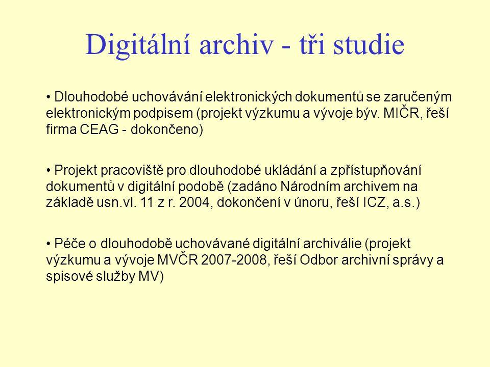 Digitální archiv - tři studie