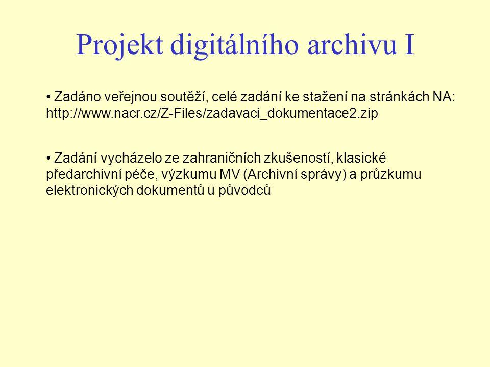 Projekt digitálního archivu I