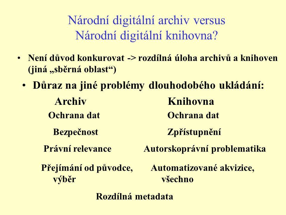 Národní digitální archiv versus Národní digitální knihovna