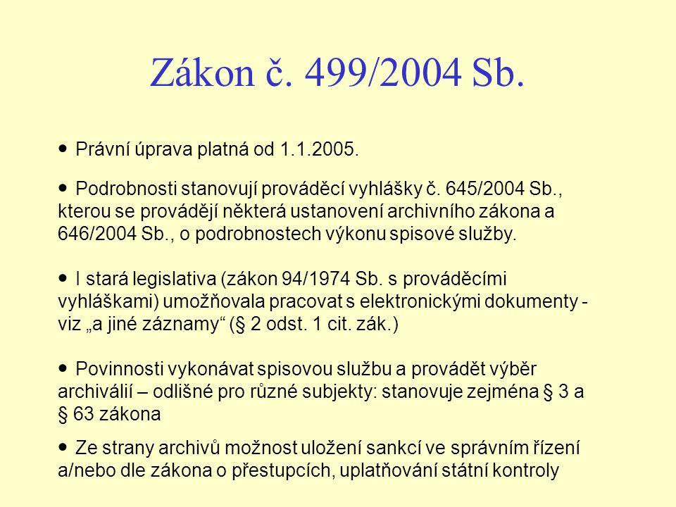 Zákon č. 499/2004 Sb. Právní úprava platná od 1.1.2005.