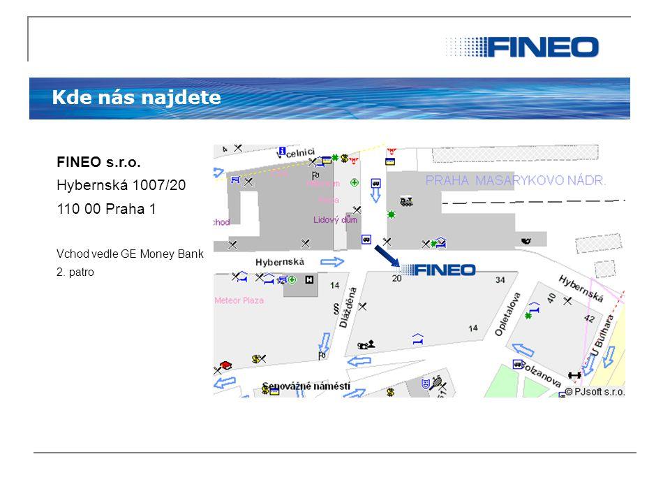 Kde nás najdete FINEO s.r.o. Hybernská 1007/20 110 00 Praha 1