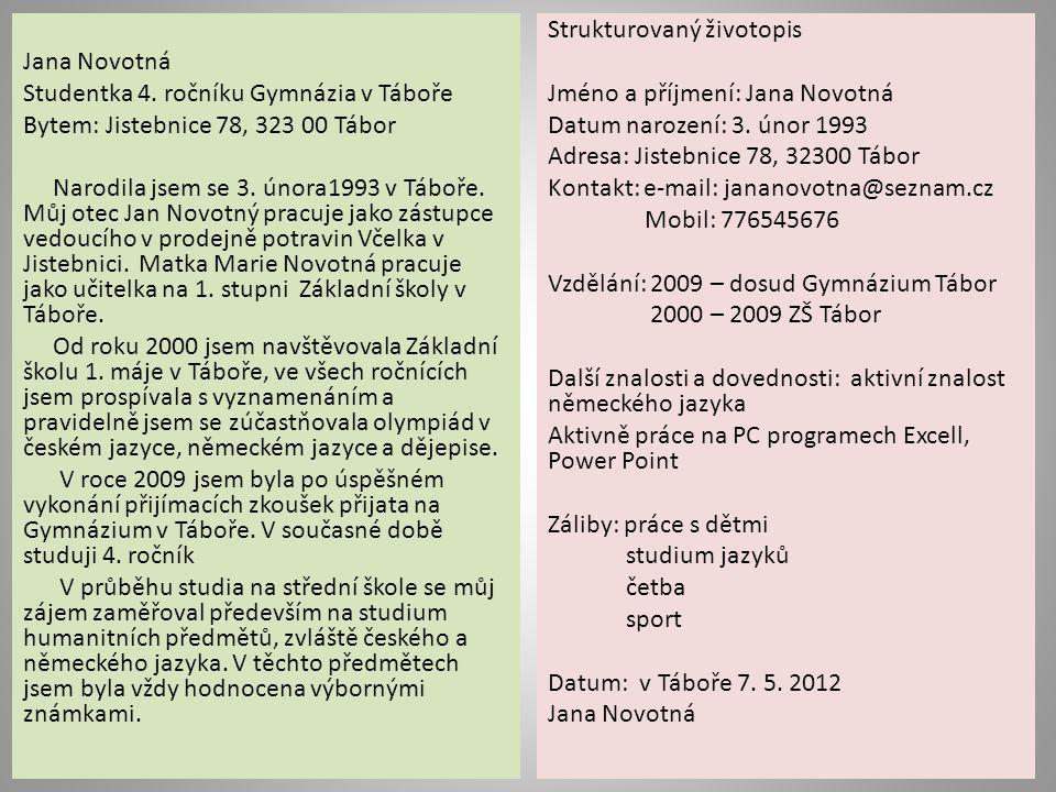 Jana Novotná Studentka 4