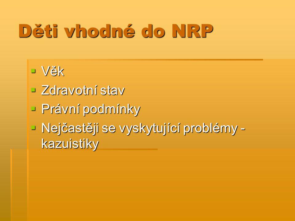 Děti vhodné do NRP Věk Zdravotní stav Právní podmínky