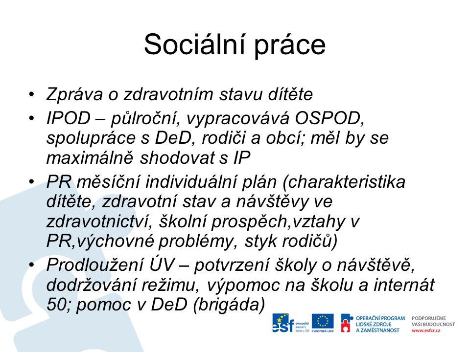 Sociální práce Zpráva o zdravotním stavu dítěte
