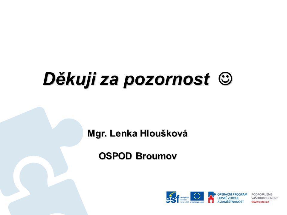 Děkuji za pozornost  Mgr. Lenka Hloušková OSPOD Broumov