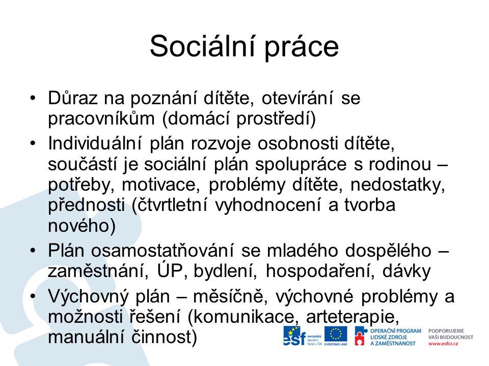 Sociální práce Důraz na poznání dítěte, otevírání se pracovníkům (domácí prostředí)