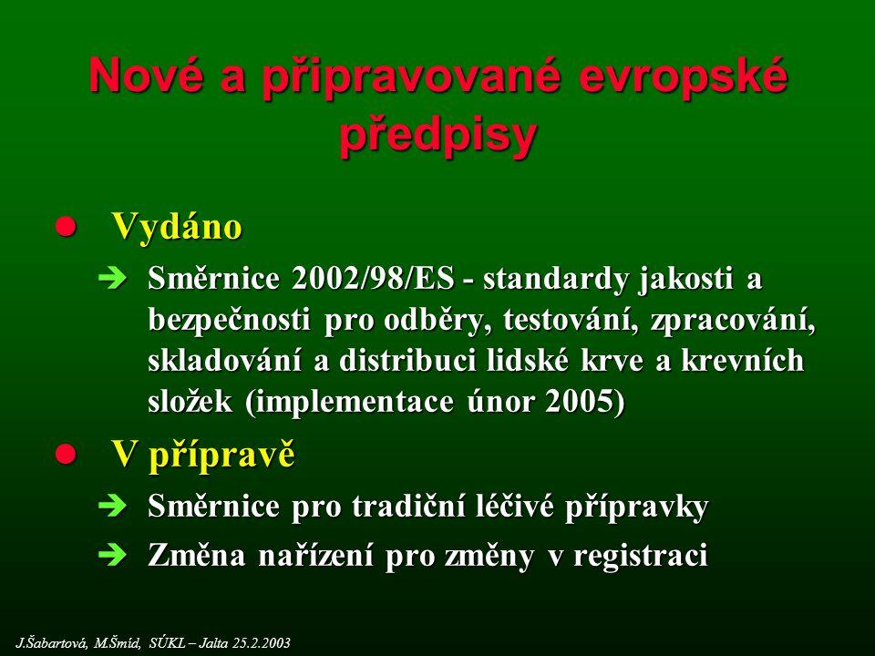 Nové a připravované evropské předpisy