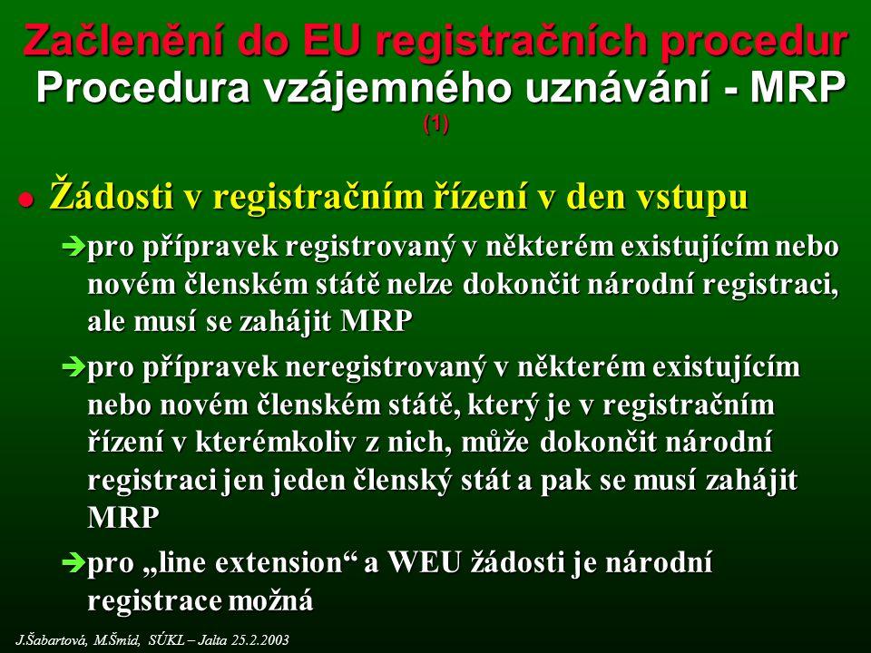 Začlenění do EU registračních procedur Procedura vzájemného uznávání - MRP (1)