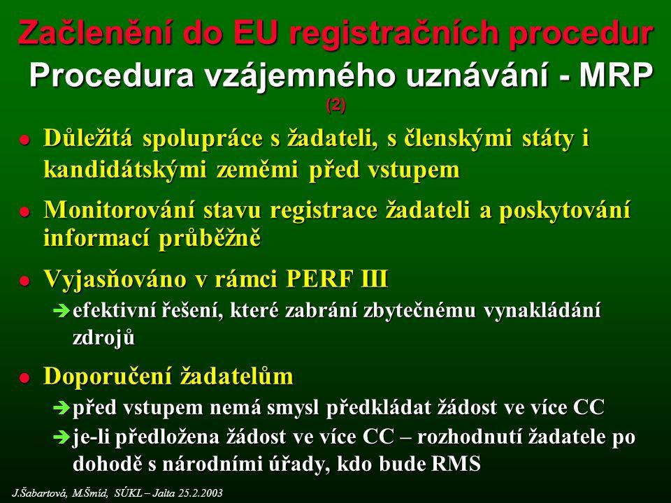 Začlenění do EU registračních procedur Procedura vzájemného uznávání - MRP (2)
