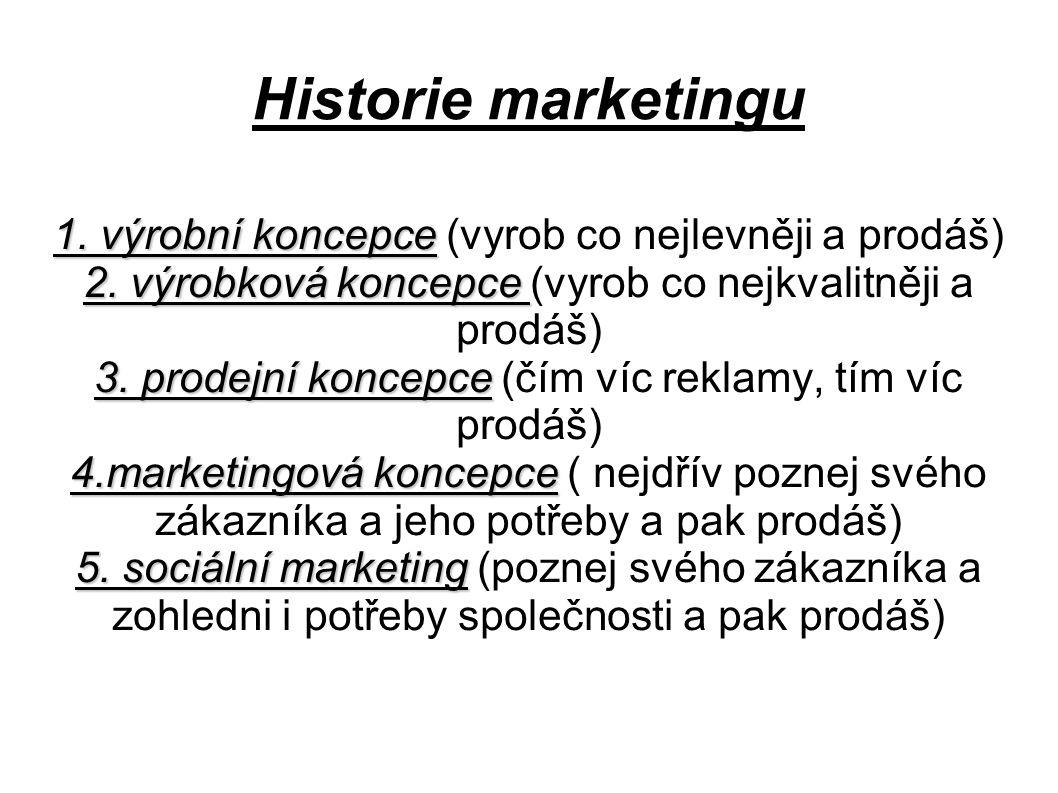 Historie marketingu 1. výrobní koncepce (vyrob co nejlevněji a prodáš)