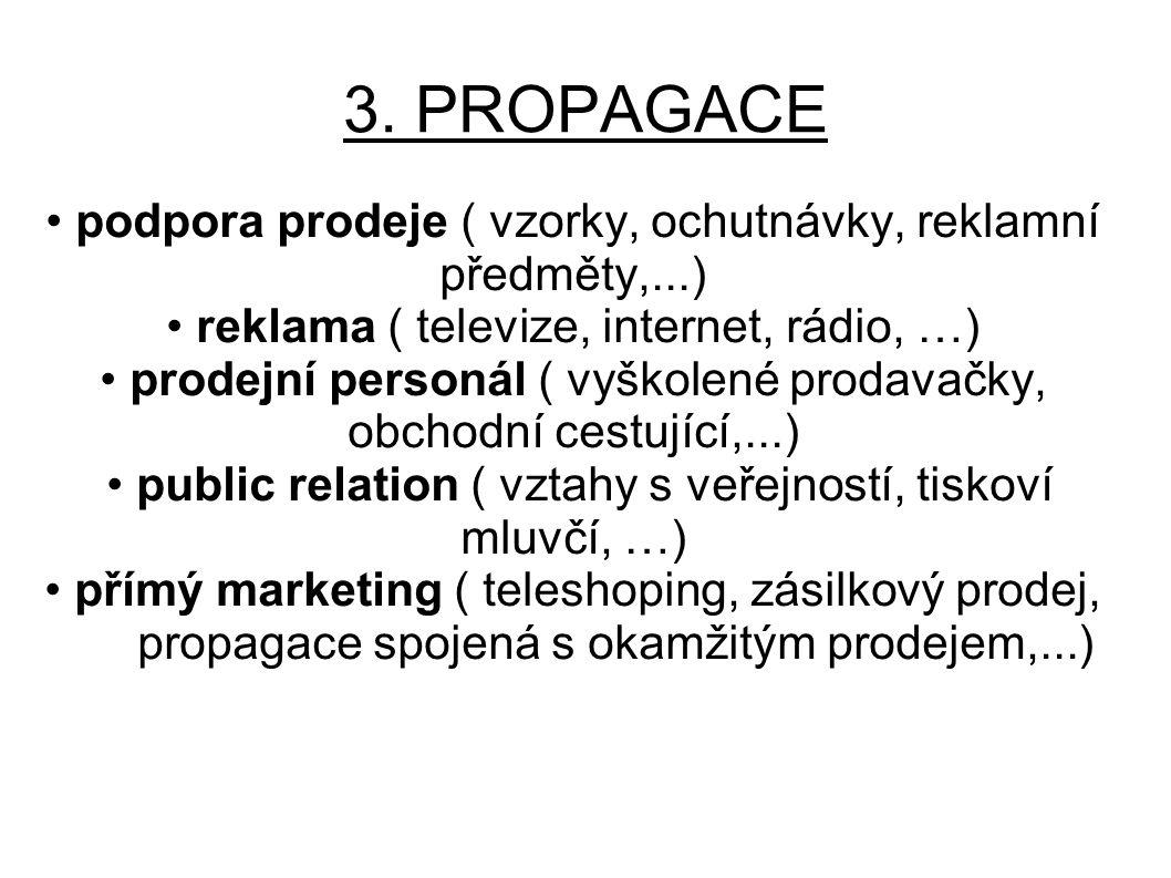 3. PROPAGACE • podpora prodeje ( vzorky, ochutnávky, reklamní předměty,...) • reklama ( televize, internet, rádio, …)