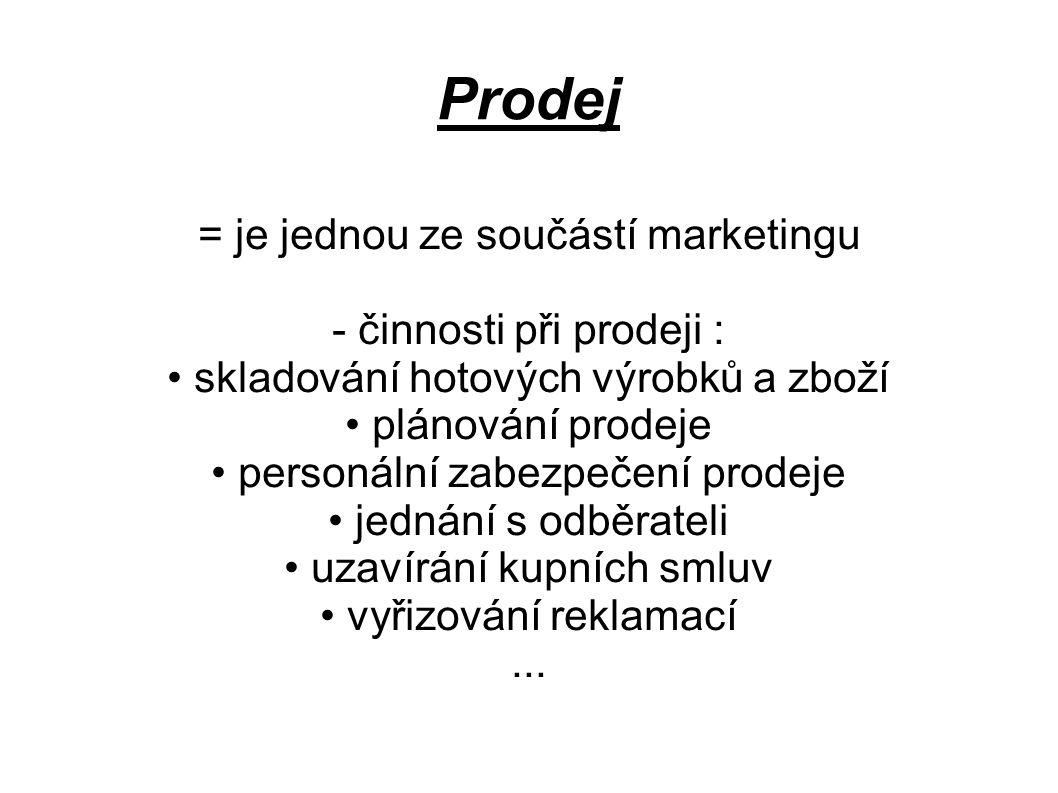 Prodej = je jednou ze součástí marketingu - činnosti při prodeji :