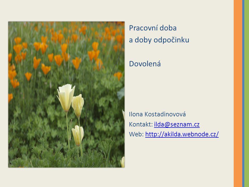 Pracovní doba a doby odpočinku Dovolená Ilona Kostadinovová