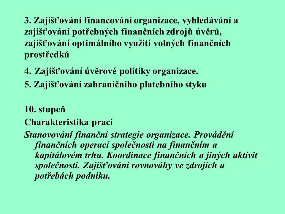 3. Zajišťování financování organizace, vyhledávání a zajišťování potřebných finančních zdrojů úvěrů, zajišťování optimálního využití volných finančních prostředků