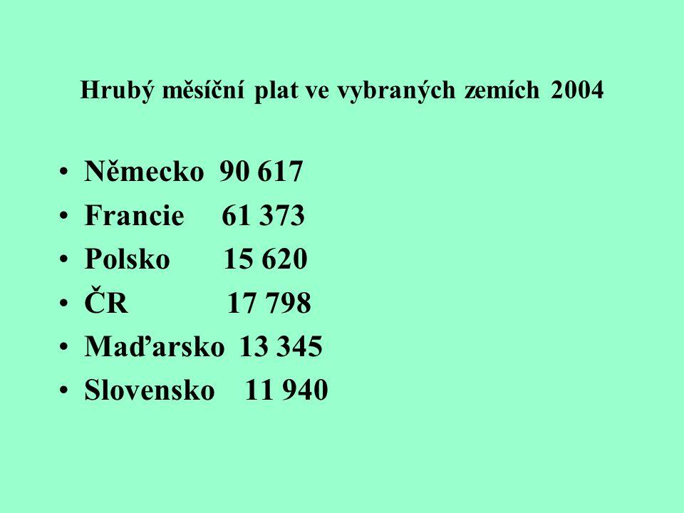 Hrubý měsíční plat ve vybraných zemích 2004