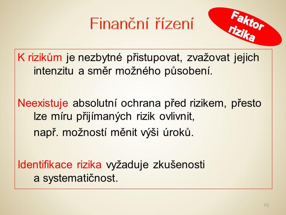 Finanční řízení Faktor rizika