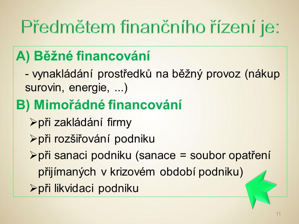 Předmětem finančního řízení je:
