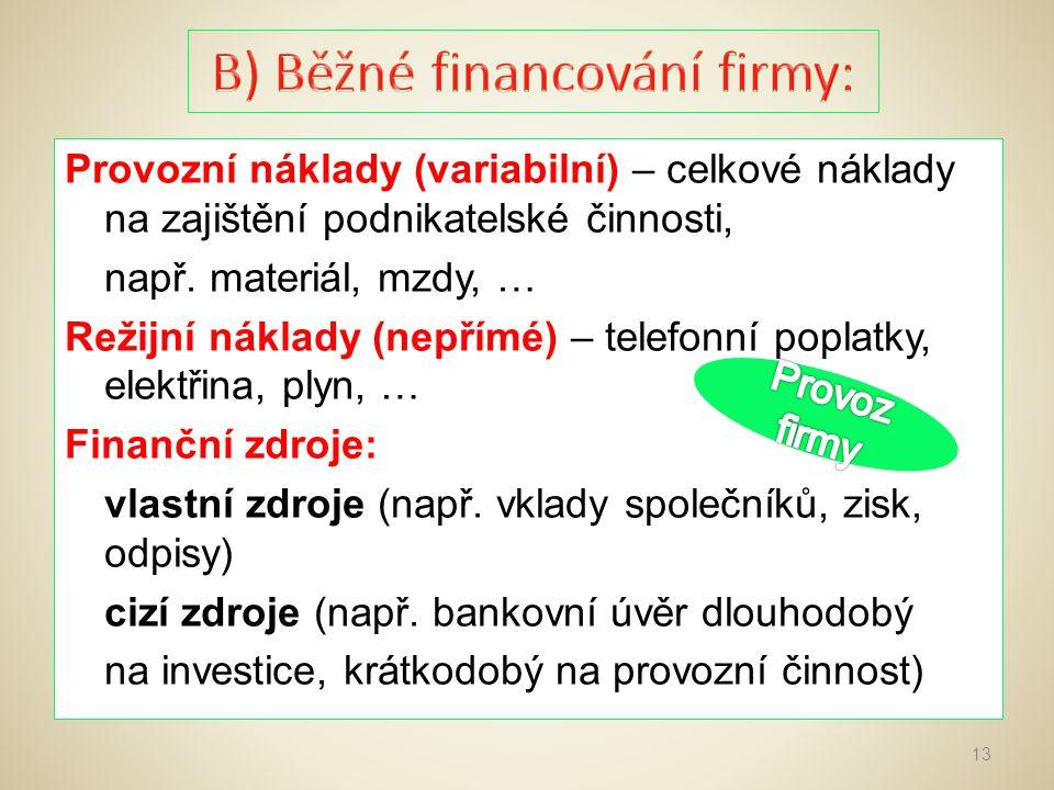 B) Běžné financování firmy: