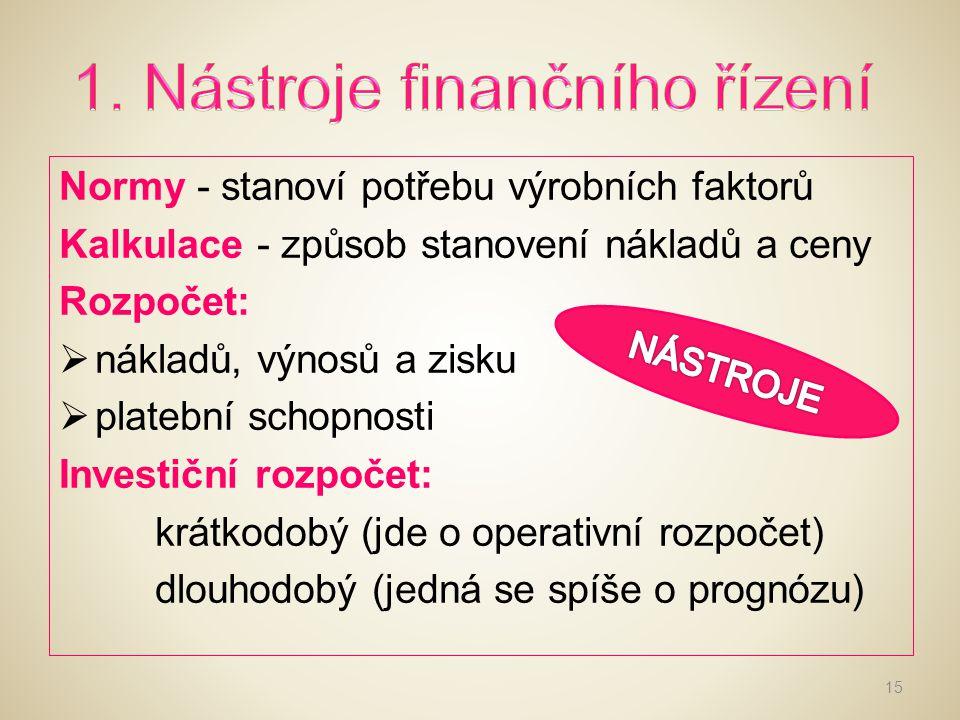 1. Nástroje finančního řízení