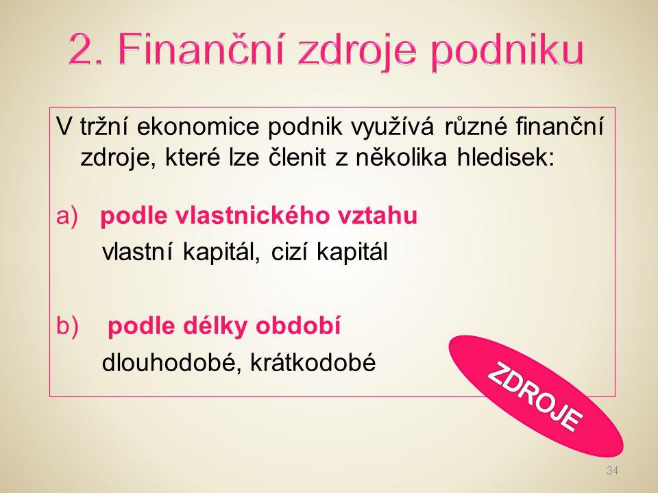 2. Finanční zdroje podniku