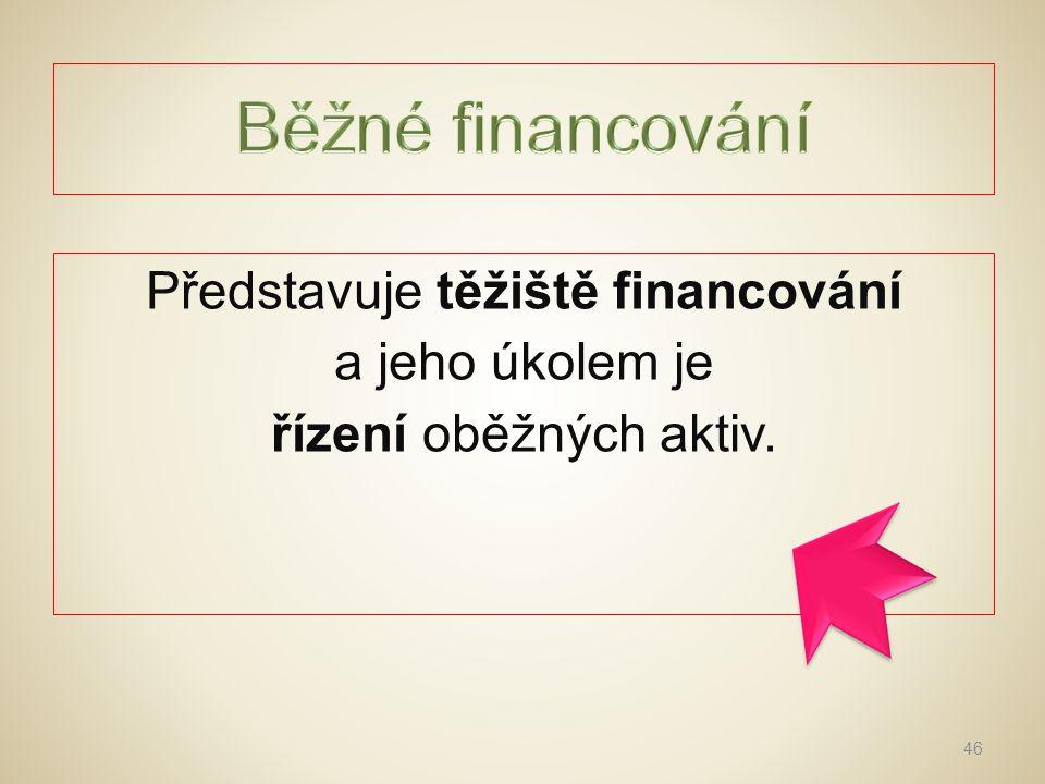 Běžné financování Představuje těžiště financování a jeho úkolem je řízení oběžných aktiv.