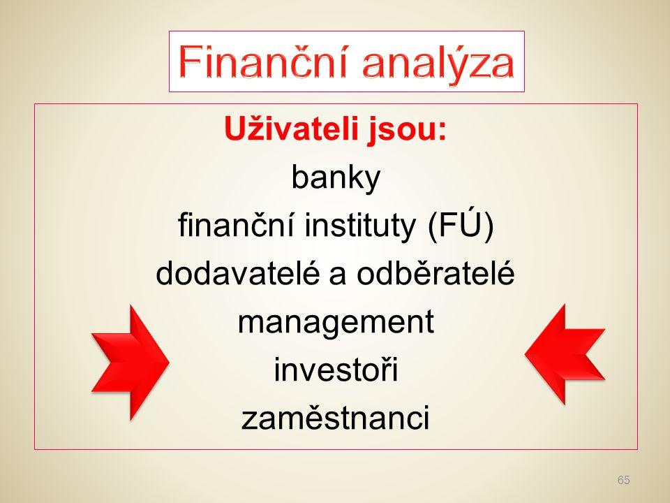 Finanční analýza Uživateli jsou: banky finanční instituty (FÚ) dodavatelé a odběratelé management investoři zaměstnanci