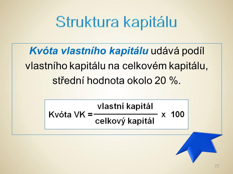 Struktura kapitálu Kvóta vlastního kapitálu udává podíl vlastního kapitálu na celkovém kapitálu, střední hodnota okolo 20 %.