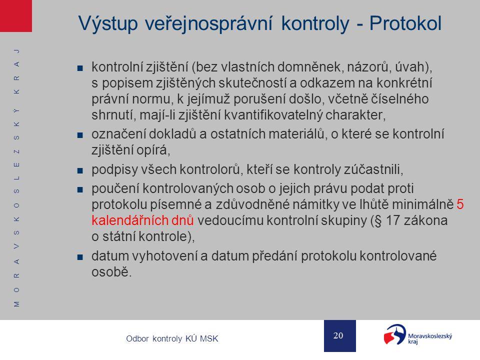 Výstup veřejnosprávní kontroly - Protokol
