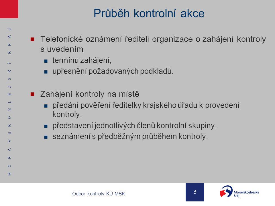 Průběh kontrolní akce Telefonické oznámení řediteli organizace o zahájení kontroly s uvedením. termínu zahájení,