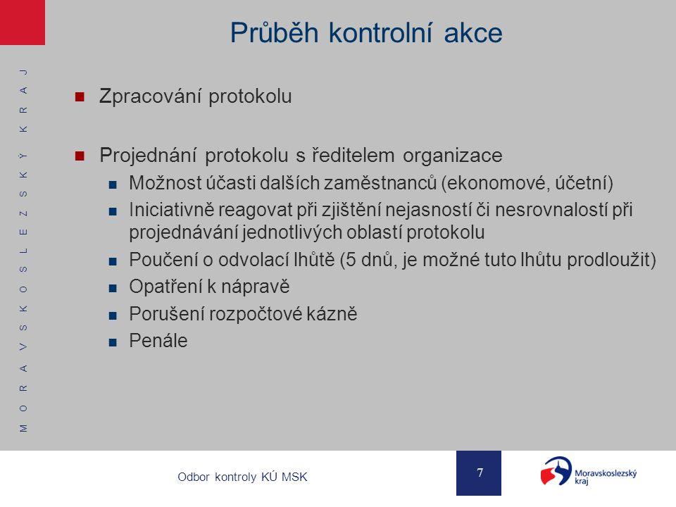 Průběh kontrolní akce Zpracování protokolu