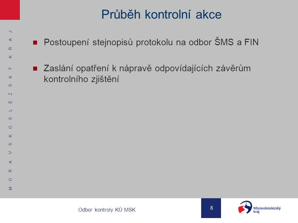 Průběh kontrolní akce Postoupení stejnopisů protokolu na odbor ŠMS a FIN. Zaslání opatření k nápravě odpovídajících závěrům kontrolního zjištění.